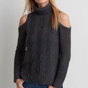 AE Cold Shoulder Turtleneck Sweater